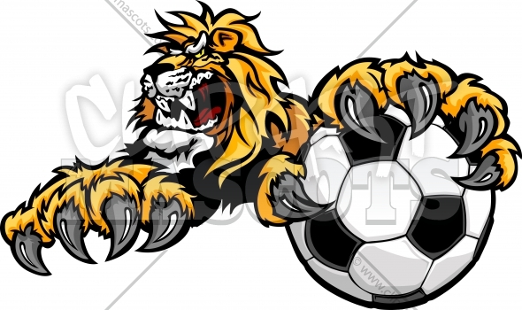 Soccer Lion Logo – Lion Mascot with Claws on a Soccer Ball Vector Illustration