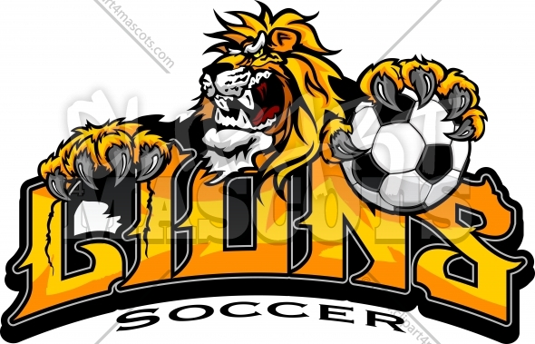 Lions Soccer Logo of Mascot and Lions Soccer Text Vector Illustration