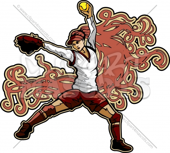 Art Nouveau Softball Player Pitching Fast Pitch Softball Vector Image