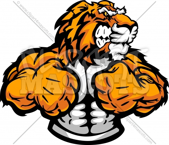 Wrestling Tiger Mascot in Flexed Arm Wrestling Pose Clipart Image