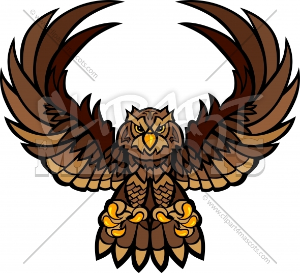 Owl Mascot with Wings and Claws Vector Clipart Image