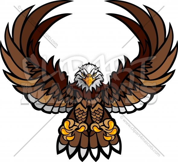Eagle Mascot Clipart with Spread Wings and Claws Vector Image