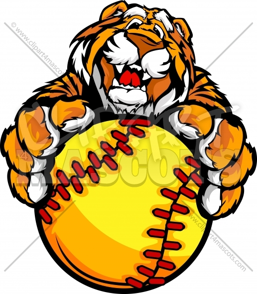 Fast Pitch Softball Tiger Mascot with Fastpitch Softball Ball in Paws