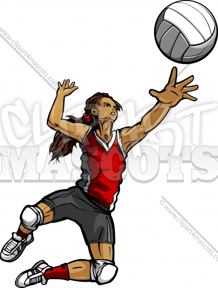Volleyball Player Clipart – Female Volleyball Player Spiking Ball