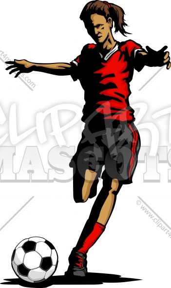 Soccer Silhouette Girl – Soccer Player Kicking Ball Vector Clipart Image