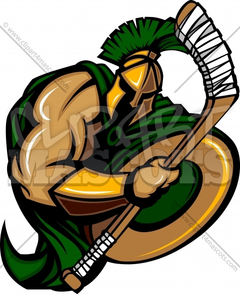 Trojan Hockey Clipart – Spartan Hockey Mascot Swinging Hockey Stick