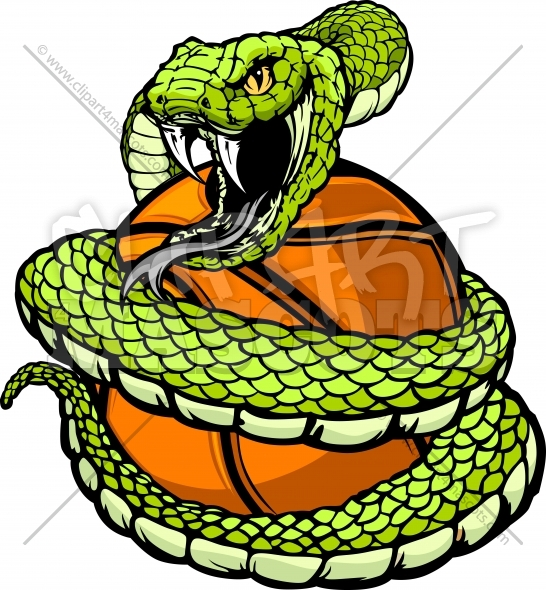 Viper Basketball Clipart – Snake coiled around a Basketball
