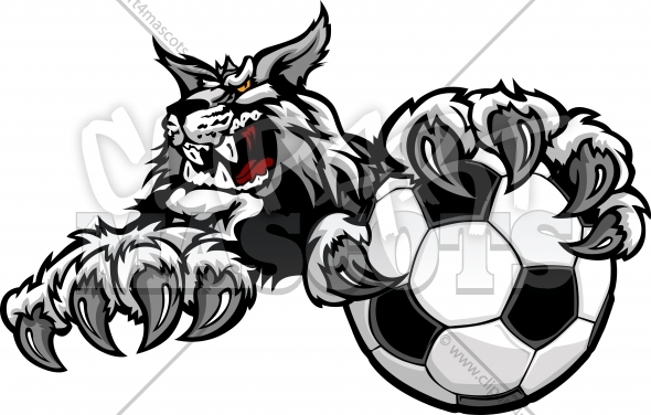 Soccer Wildcat Logo – Mascot with Claws on a Soccer Ball Vector Clipart