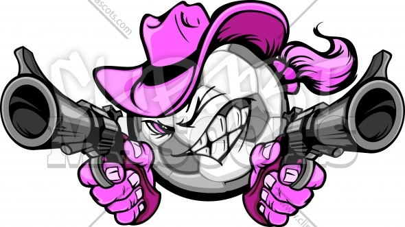 Cowgirl Soccer Vector Cartoon Clipart Image