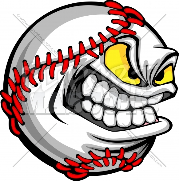 Baseball Face Cartoon Ball Vector Image