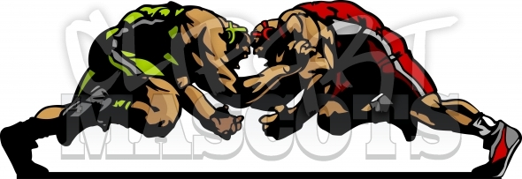 Wrestlers Clipart Silhouettes Graphic Vector Illustration