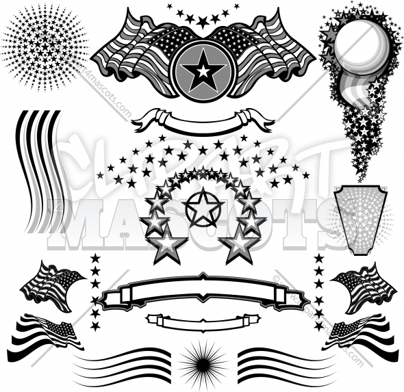 Vector Stars and Stripes Elements Clipart Collection