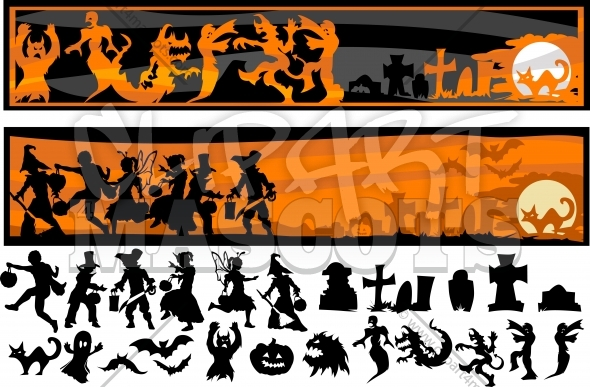 Halloween Silhouettes Vector Clipart Images