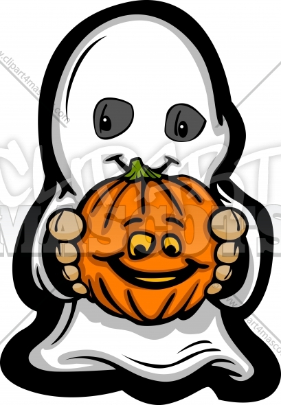 Ghost Cartoon Costume Vector Clipart Image