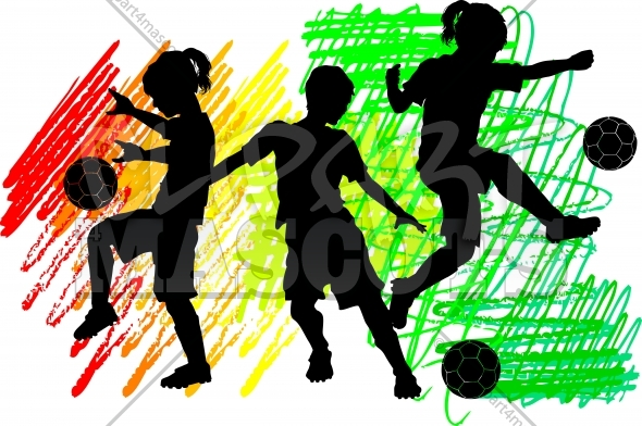 Kids Soccer Logo Vector Clipart Silhouettes