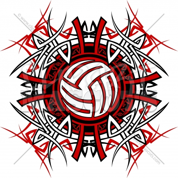 Tribal Volleyball Clipart Vector Image
