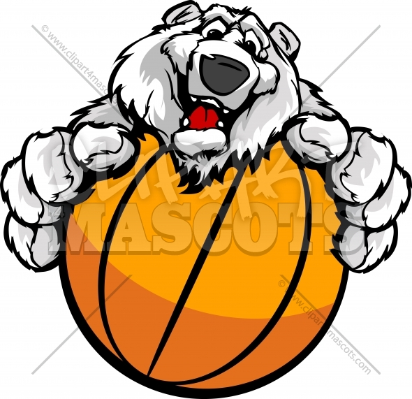 Polar Bear Basketball Cartoon Vector Clipart Image