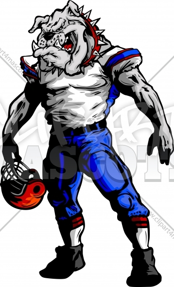 Football Bulldog Clipart Vector Mascot Image