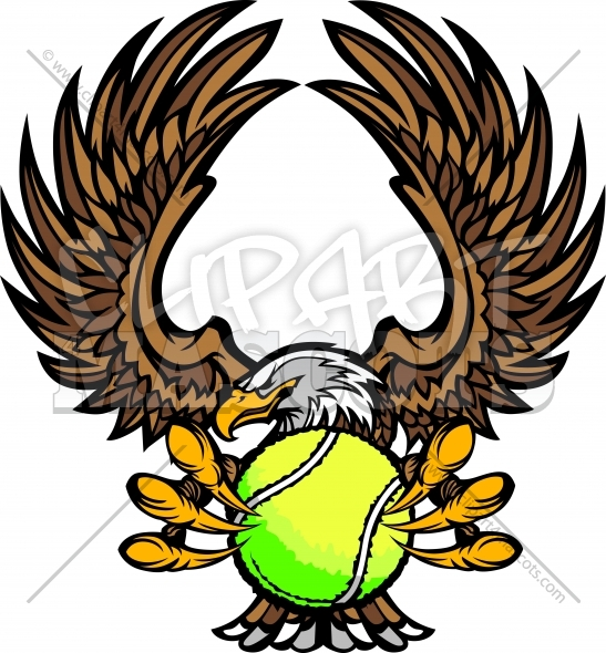 Eagle Tennis Mascot Clipart Vector Image
