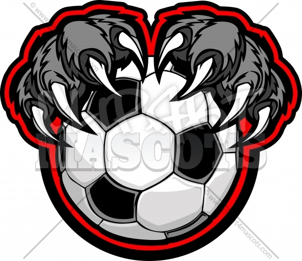 Soccer Panther Claws Grabbing a Soccer Ball Vector Clipart Image