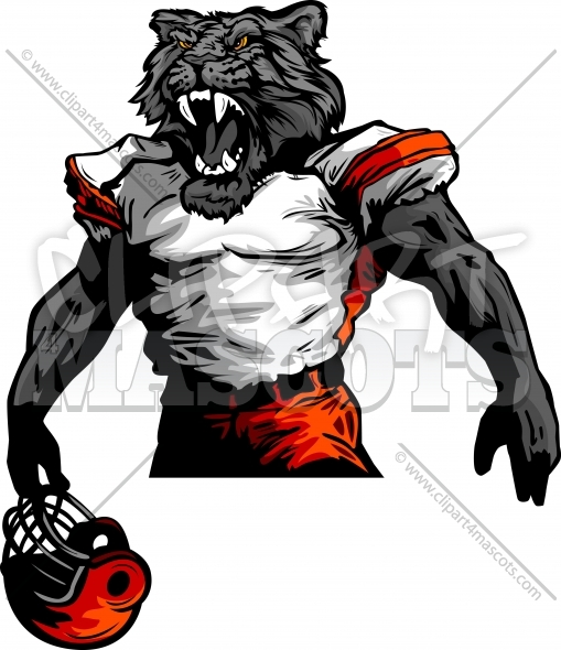 Panther Football Mascot Vector Clipart Image