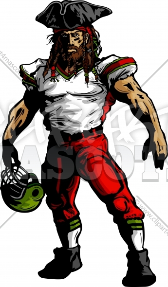 Pirate Football Mascot Vector Clipart Image