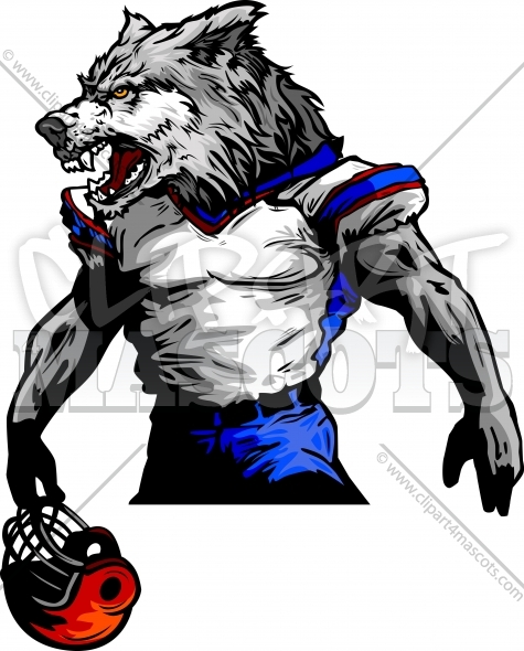 Wolf Football Mascot Vector Clipart Image