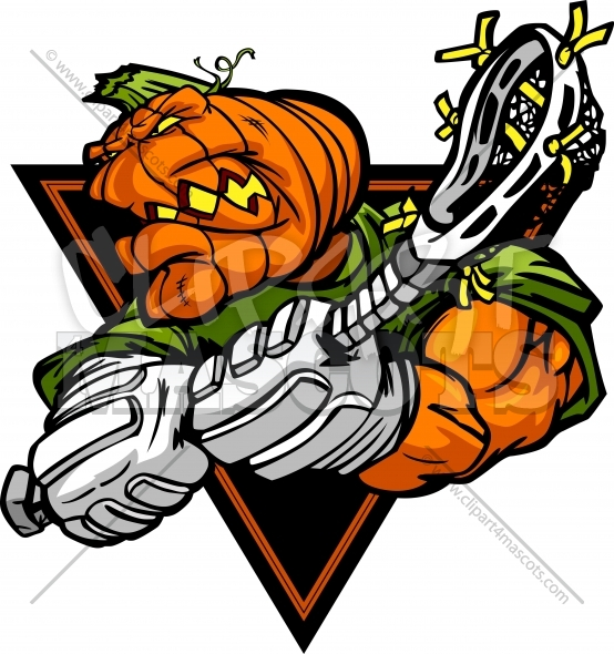 Halloween Lacrosse Clipart – Pumpkin Head Cartoon Vector Image