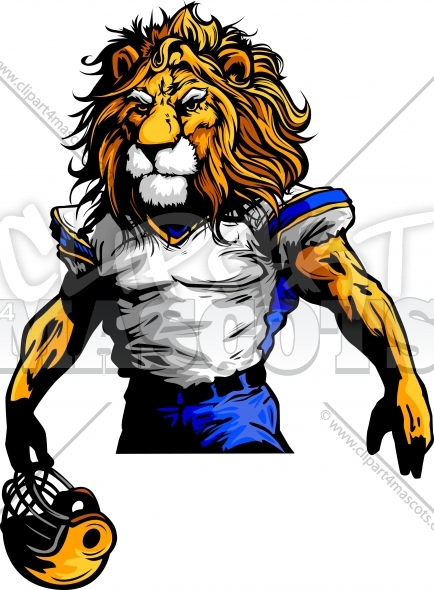 Lion Football Mascot Vector Clipart Image