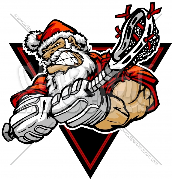 Christmas Lacrosse Player – Santa Claus Cartoon Clipart Image