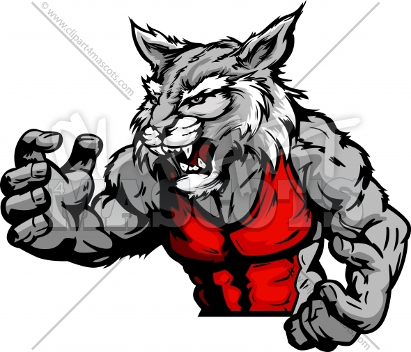 Wrestling Wildcat Mascot Graphic Vector Cartoon