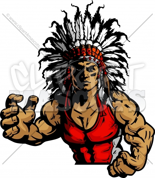 wrestling indian chief mascot graphic vector image Indian Warrior Football Clip Art american indian warrior clipart