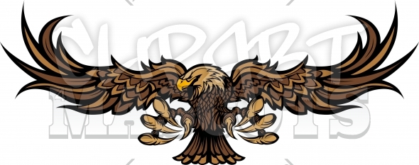Falcon Mascot – Raptor with Spread Wings Vector Clipart Image