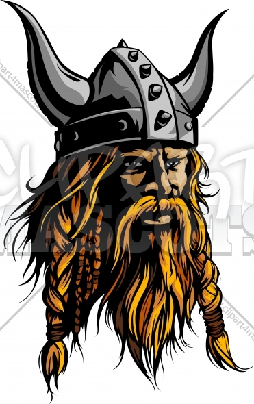 Viking Mascot – Viking Clipart with Horned Helmet Vector Image