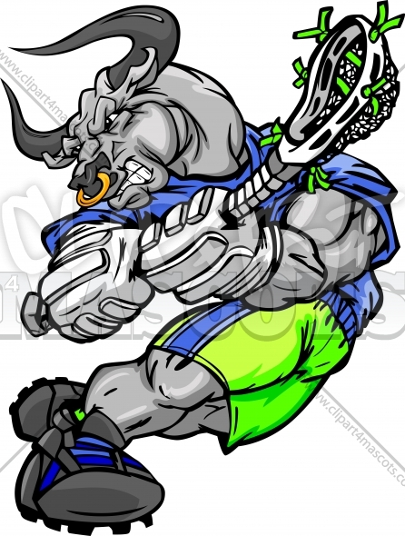 Lacrosse Bull Clipart – Bull Lacrosse Player Cartoon Vector Image