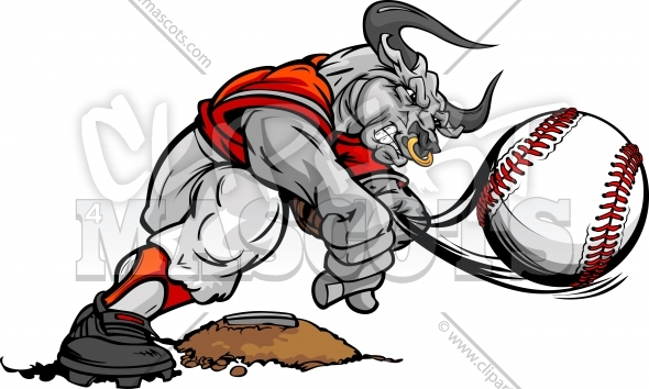 Baseball Bull Clipart – Pitcher Throwing Pitch Cartoon Vector Image