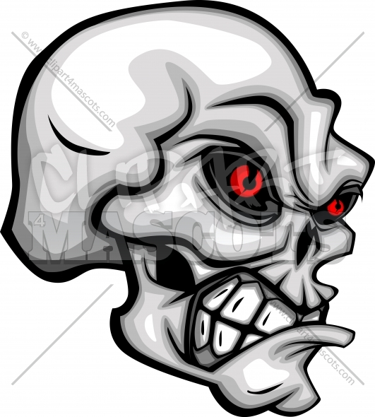 Skull Cartoon with Red Eyes Vector Image