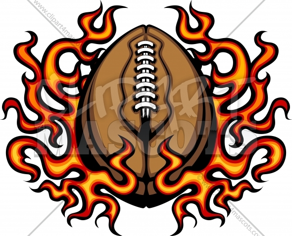 Football with Flames Vector Clipart Image