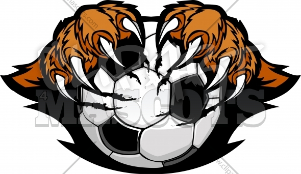 Soccer Ball With Tiger Claws Vector Clipart Image