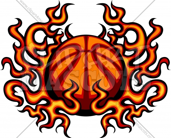 Basketball with Flames Vector Clipart Image