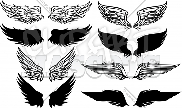 Wings Vector Elements Set Clipart Images