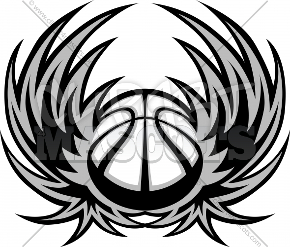 Basketball Template with Wings Vector Clipart Image