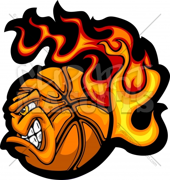 Flaming Basketball Face Vector Clipart Image