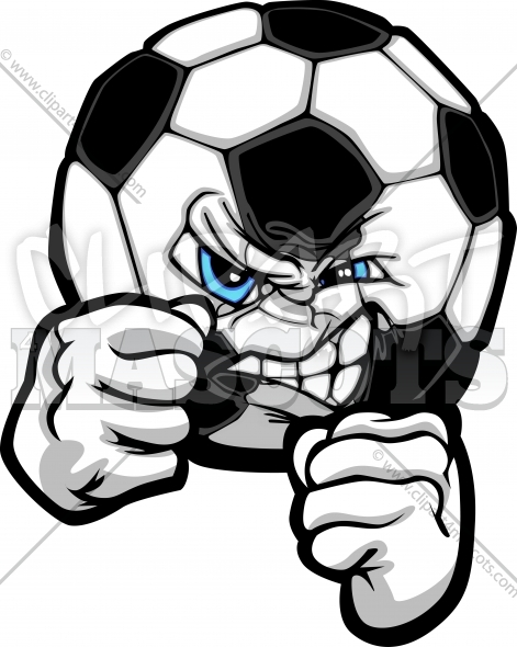 Fighting Soccer Ball Vector Clipart Illustration