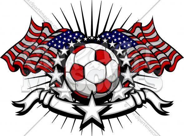 Soccer Football Vector Template with Flags and Stars