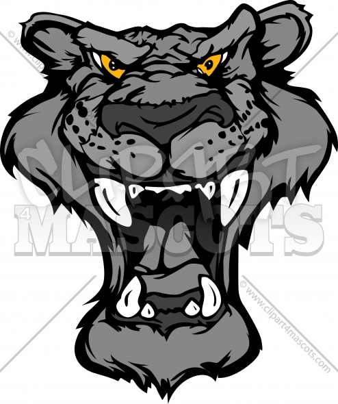 Panther Cartoon Head Vector Illustration