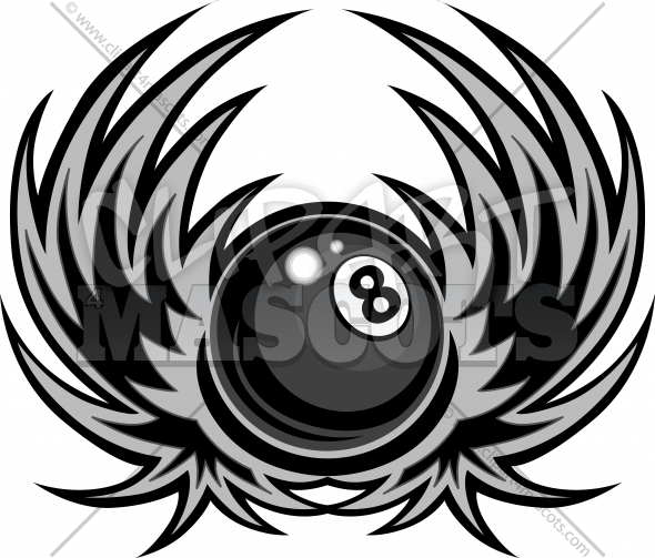 Billiards Eight Ball with Wings Vector Illustration