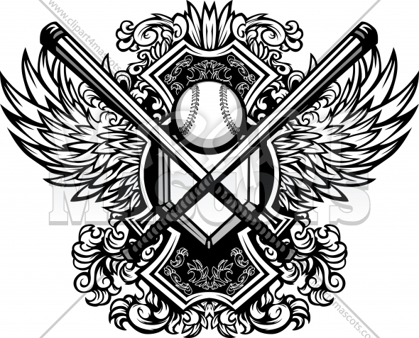 Baseball Softball Bats Ornate Graphic Vector Template